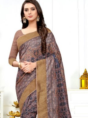 Multi Colour Digital Print Silk Classic Designer Saree