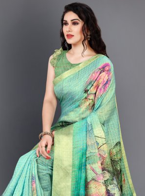 Multi Colour Digital Print Silk Designer Saree