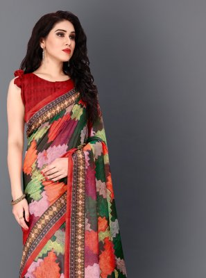 Multi Colour Digital Print Trendy Saree