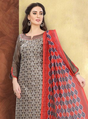 Multi Colour Embroidered Churidar Suit