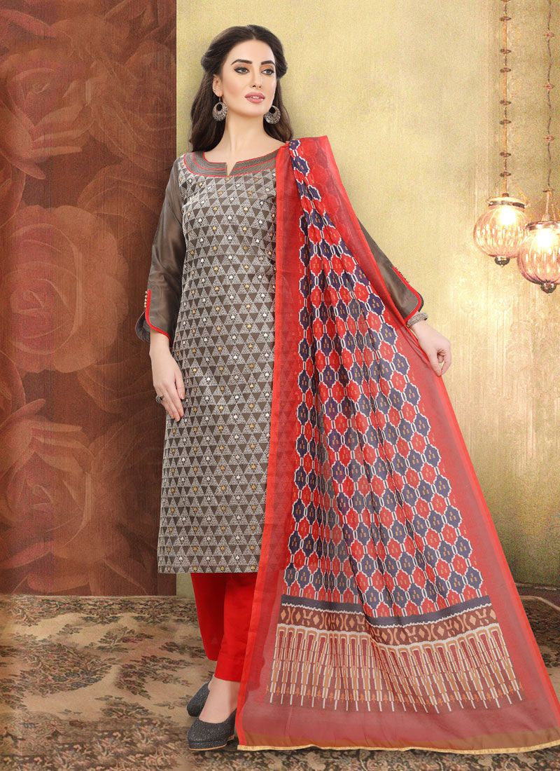 Multi Colour Embroidered Churidar Suit