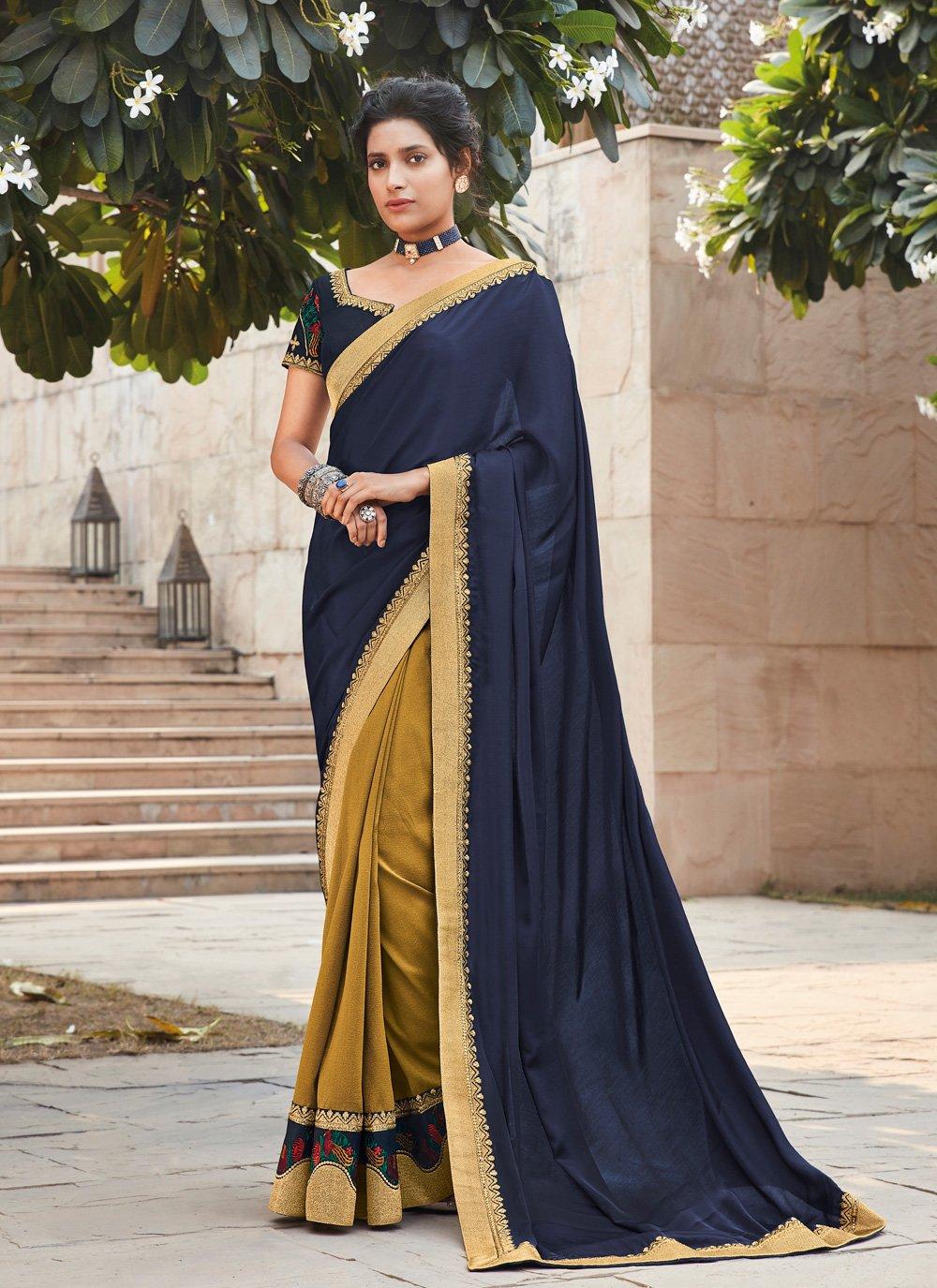Multi Colour Embroidered Designer Saree