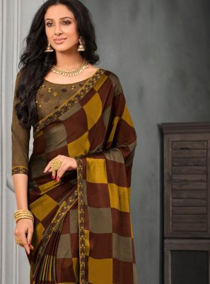 Multi Colour Embroidered Faux Chiffon Classic Saree