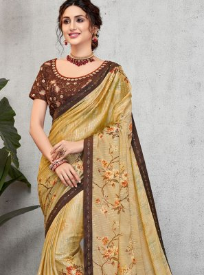 Multi Colour Embroidered Faux Georgette Designer Traditional Saree