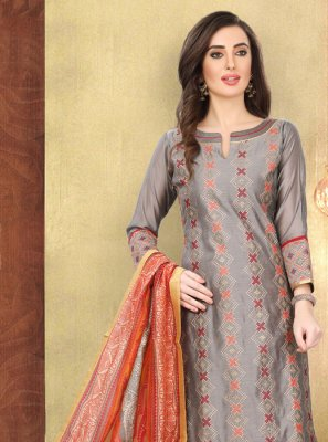 Multi Colour Embroidered Festival Churidar Salwar Kameez