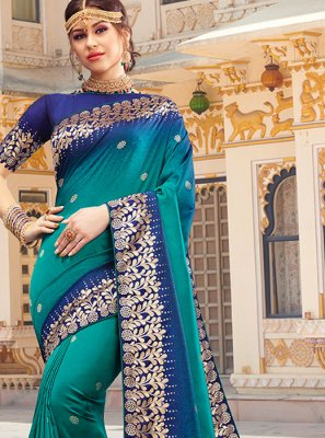 Multi Colour Embroidered Festival Classic Saree