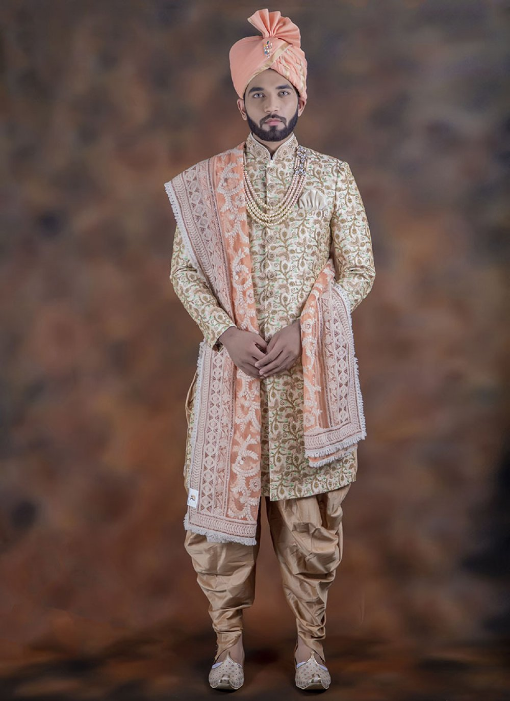 Multi Colour Embroidered Indo Western Sherwani