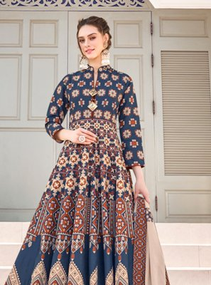 Multi Colour Embroidered Readymade Gown