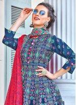 Multi Colour Embroidered Silk Designer Gown