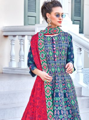 Multi Colour Embroidered Silk Designer Gown