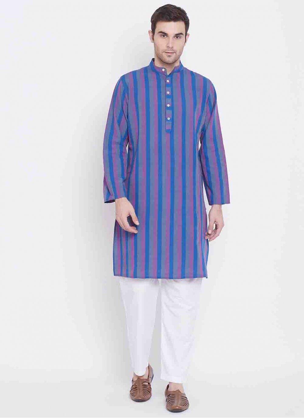 Multi Colour Engagement Cotton Kurta Pyjama
