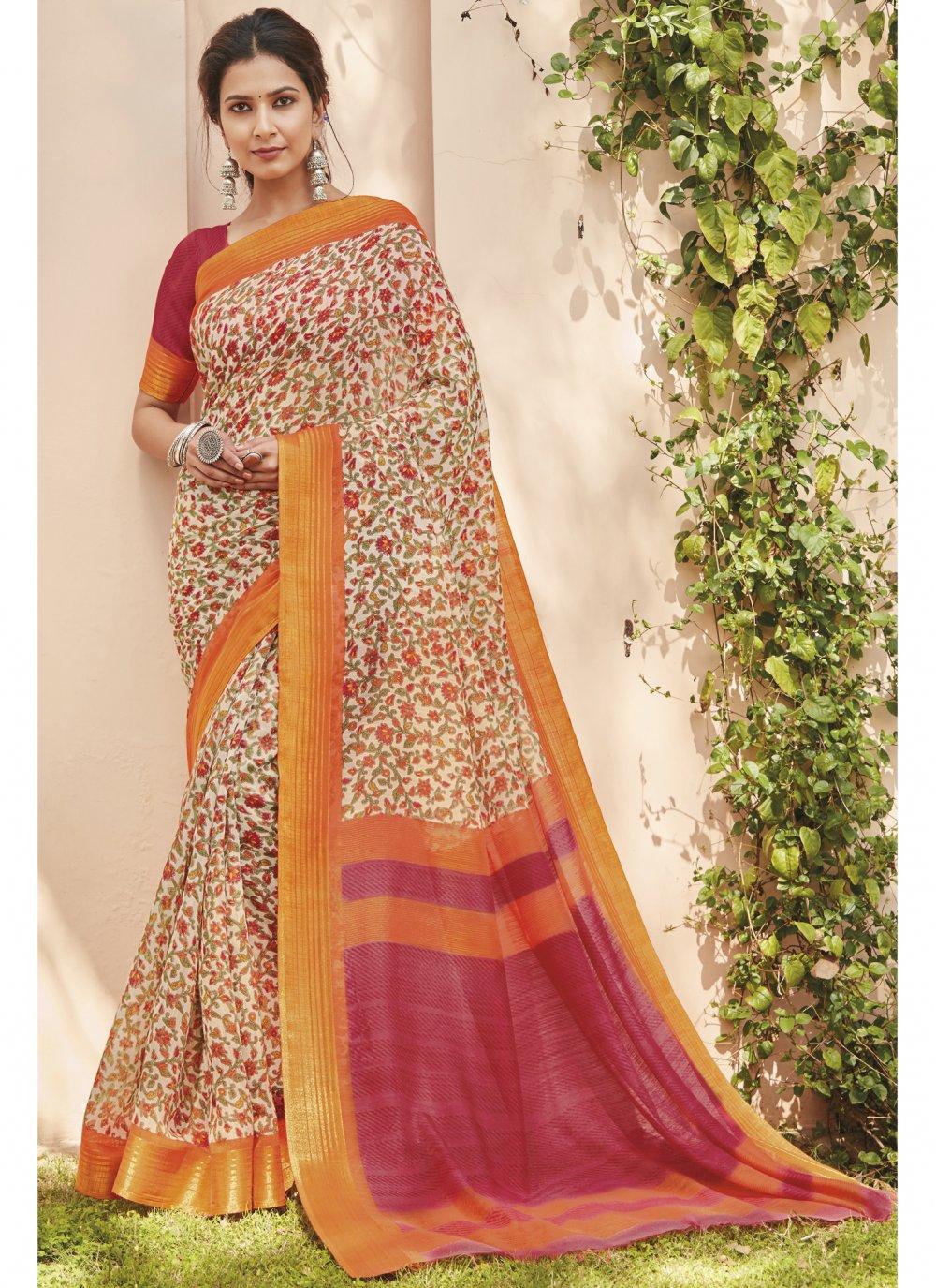 Multi Colour Engagement Cotton Silk Saree
