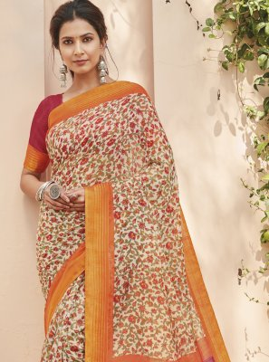 Multi Colour Engagement Cotton Silk Saree