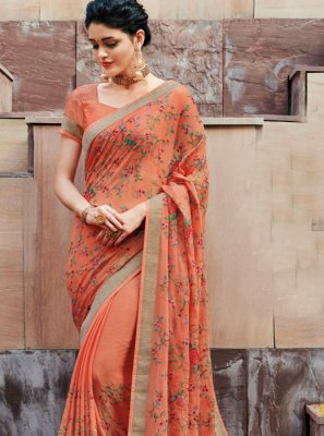 Multi Colour Faux Chiffon Classic Designer Saree