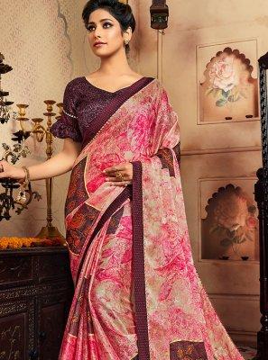 Multi Colour Faux Chiffon Classic Designer Saree