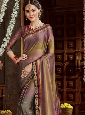 Multi Colour Faux Chiffon Printed Designer Saree