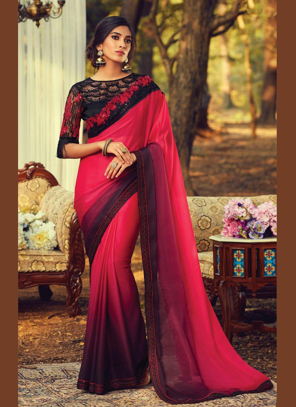 Multi Colour Faux Chiffon Traditional Saree