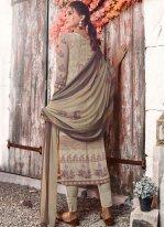 Multi Colour Faux Crepe Abstract Print Designer Pakistani Suit