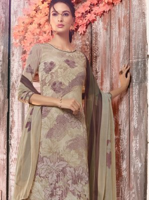 Multi Colour Faux Crepe Abstract Print Designer Pakistani Suit