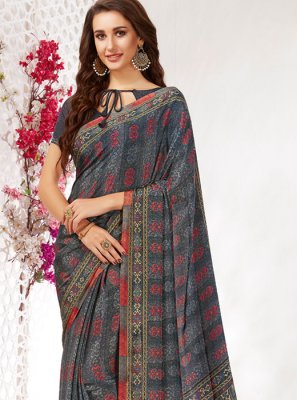 Multi Colour Faux Crepe Casual Casual Saree
