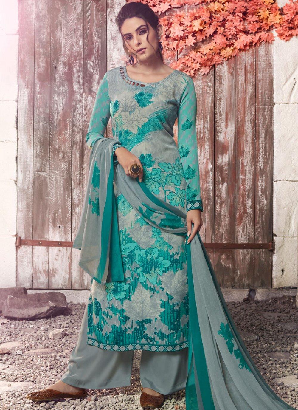 Multi Colour Faux Crepe Festival Designer Pakistani Suit