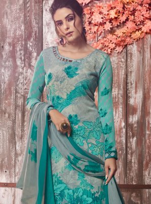 Multi Colour Faux Crepe Festival Designer Pakistani Suit