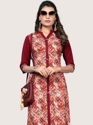 Multi Colour Faux Crepe Party Wear Kurti
