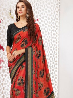Multi Colour Faux Crepe Printed Printed Saree
