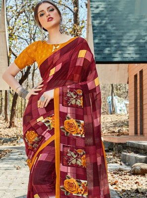 Multi Colour Faux Georgette Floral Print Trendy Saree