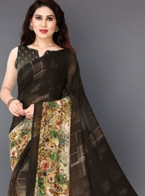 Multi Colour Faux Georgette Printed Printed Saree