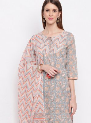 Multi Colour Festival Cotton Designer Straight Salwar Kameez