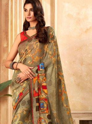Multi Colour Festival Georgette Printed Saree