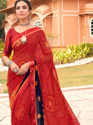 Multi Colour Festival Weight Less Printed Saree