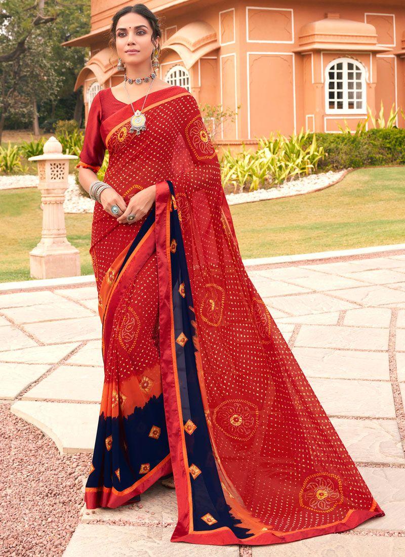 Multi Colour Festival Weight Less Printed Saree