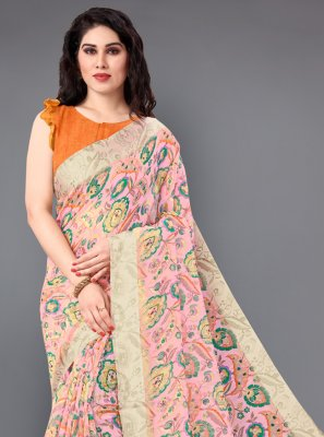 Multi Colour Floral Print Cotton Casual Saree