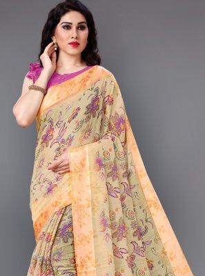 Multi Colour Floral Print Cotton Classic Saree