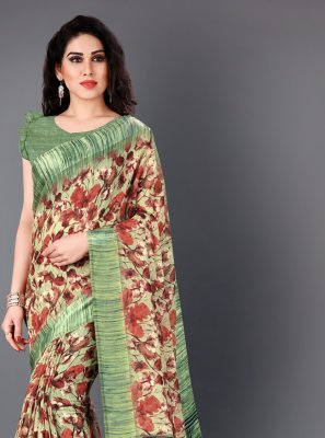 Multi Colour Floral Print Cotton Classic Saree