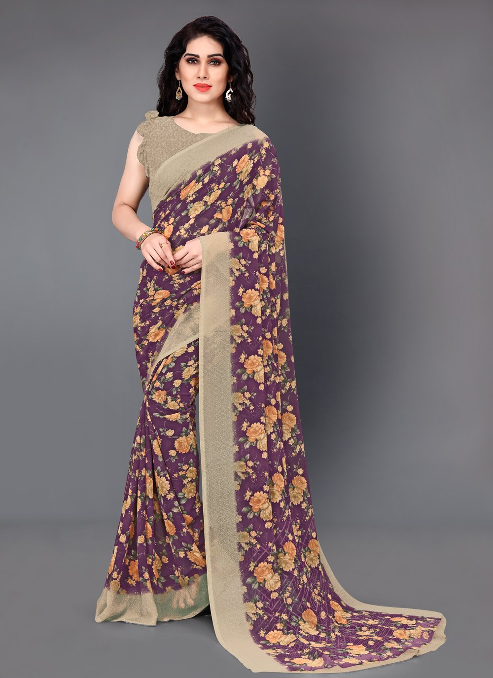 Multi Colour Floral Print Faux Georgette Classic Saree