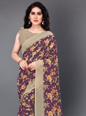 Multi Colour Floral Print Faux Georgette Classic Saree