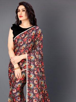 Multi Colour Floral Print Lycra Traditional Saree