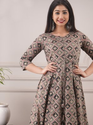 Multi Colour Foil Print Designer Gown