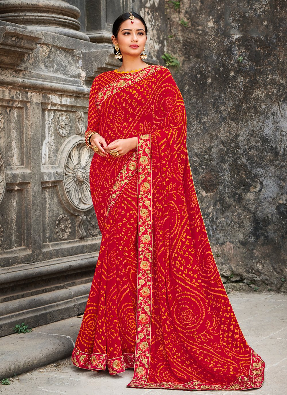 Multi Colour Georgette Border Classic Designer Saree
