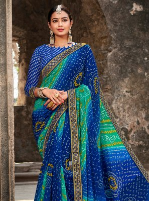 Multi Colour Georgette Border Classic Saree