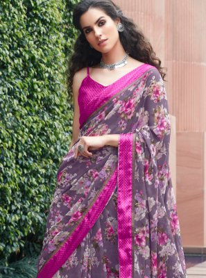 Multi Colour Georgette Festival Casual Saree