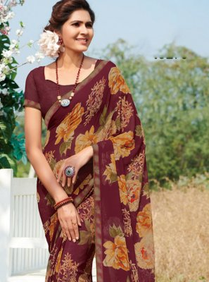 Multi Colour Georgette Printed Casual Saree