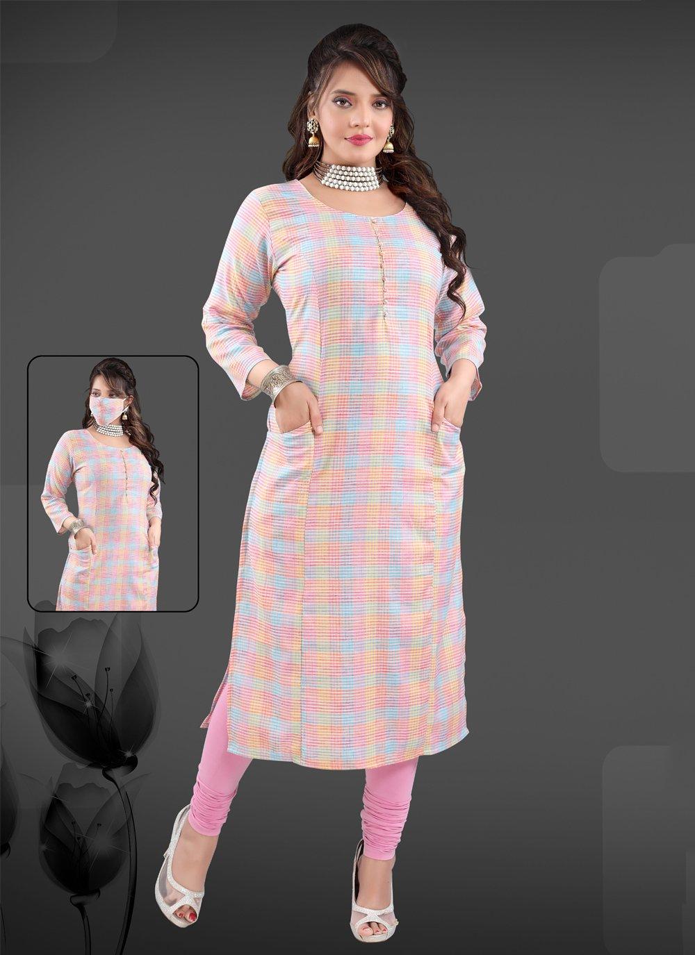 Multi Colour Handloom Cotton Party Wear Kurti
