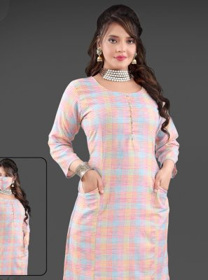 Multi Colour Handloom Cotton Party Wear Kurti