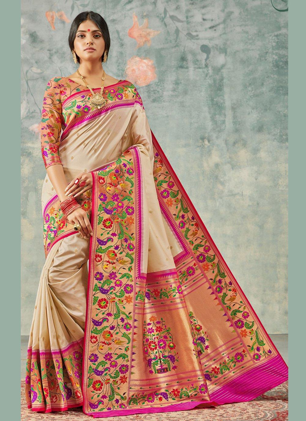 Multi Colour Handloom silk Designer Saree