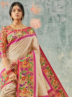 Multi Colour Handloom silk Designer Saree