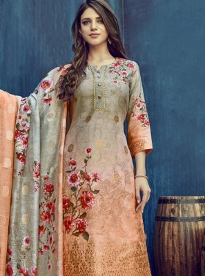 Multi Colour Jacquard Party Salwar Suit